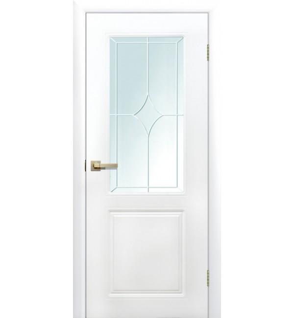 Межкомнатная дверь Квартет остекленная белая