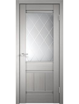 Межкомнатная дверь  Уника 11 стекло ромб светлый, цвет белый