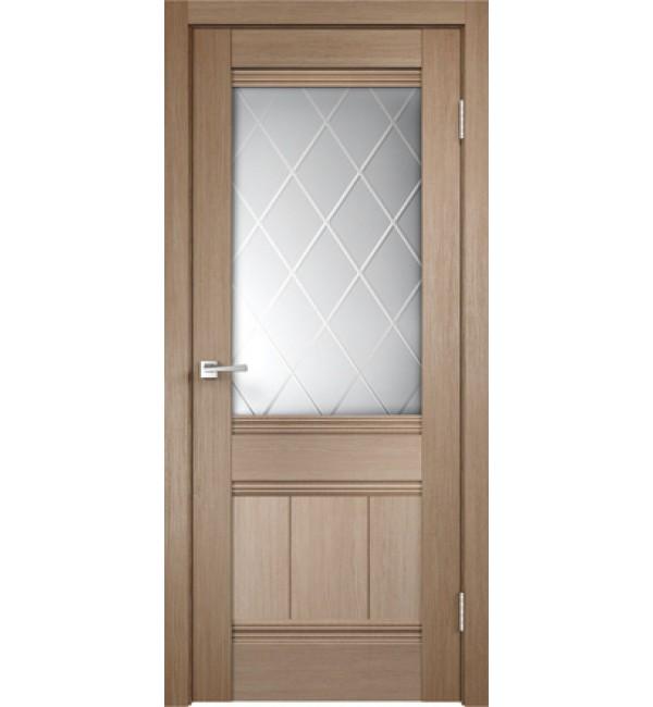 Межкомнатная дверь  Уника 11 стекло ромб светлый, цвет бруно