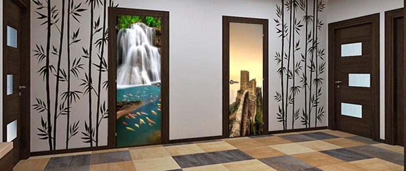 Фотопечать на дверях в интерьере