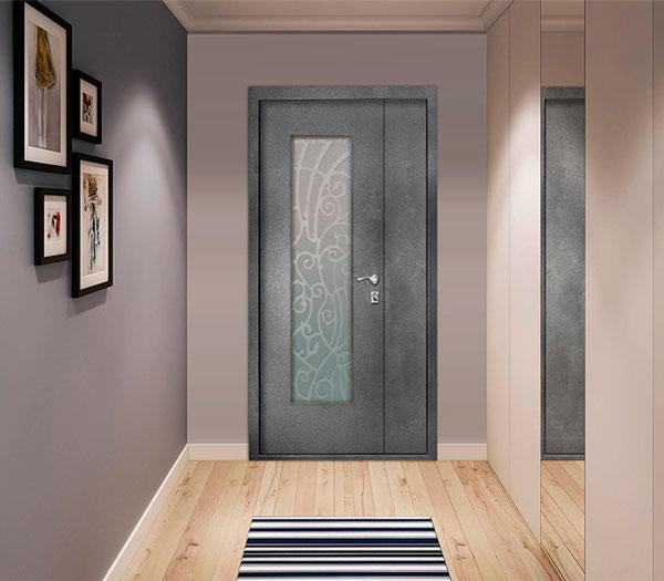 Входные серые двери